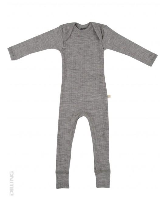 Salopetă overall gri striată din lână Merinos organică Dilling Underwear pentru bebeluși