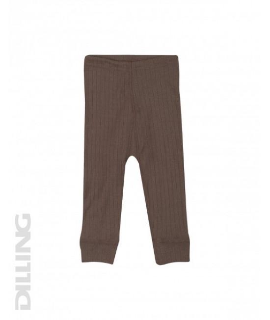 Colanți ciocolatii striați din lână Merinos organică Dilling Underwear pentru bebeluși