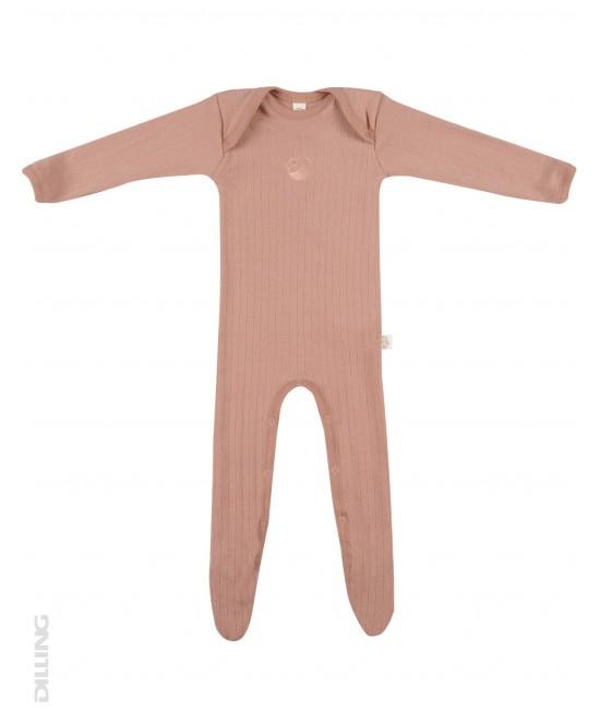 Salopetă overall roz striată din lână Merinos organică Dilling Underwear pentru bebeluși - cu botoș