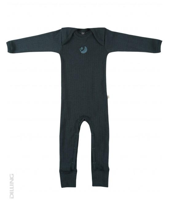 Salopetă overall  gri petrol striată din lână Merinos organică Dilling Underwear pentru bebeluși