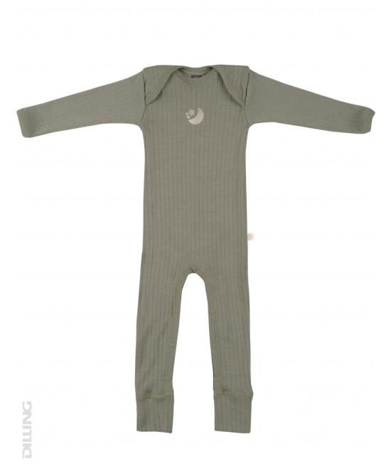 Salopetă overall verde striată din lână Merinos organică Dilling Underwear pentru bebeluși