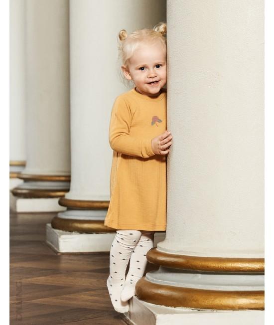 Rochie galbenă striată din lână Merinos organică Dilling Underwear pentru bebeluși
