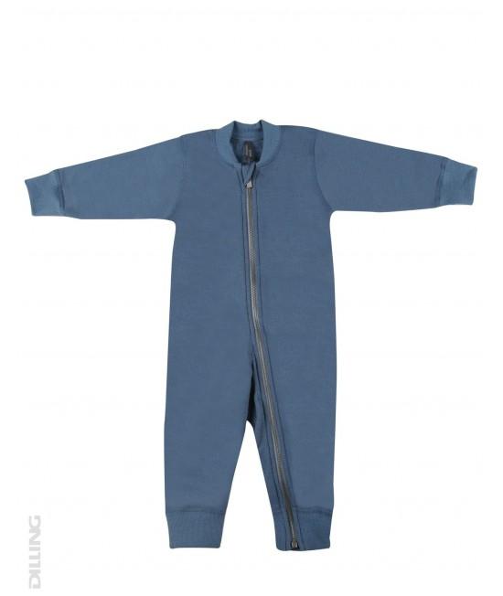 Salopetă overall albastră flaușată din lână Merinos organică Dilling Underwear pentru bebeluși