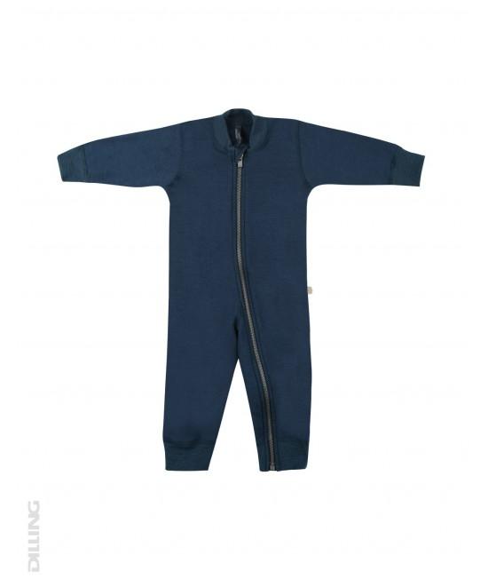 Salopetă overall albastru-petrol flaușată din lână Merinos organică Dilling Underwear pentru bebeluși