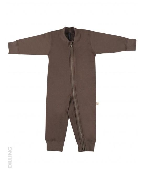 Salopetă overall ciocolatie flaușată din lână Merinos organică Dilling Underwear pentru bebeluși