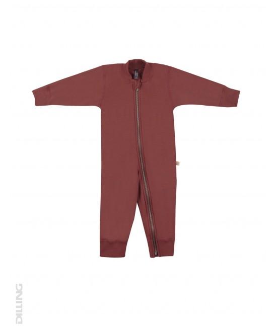 Salopetă overall vișinie flaușată din lână Merinos organică Dilling Underwear pentru bebeluși