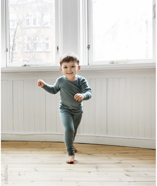 Colanți verzi deschis din lână Merinos organică Dilling Underwear pentru copii