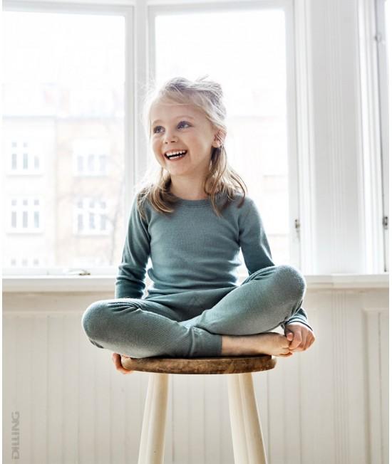 Bluză verde de corp din lână Merinos organică Dilling Underwear pentru copii