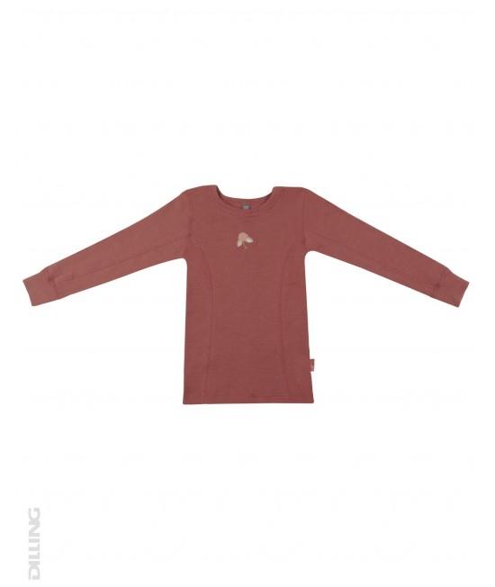 Bluză vișinie de corp din lână Merinos organică Dilling Underwear pentru copii
