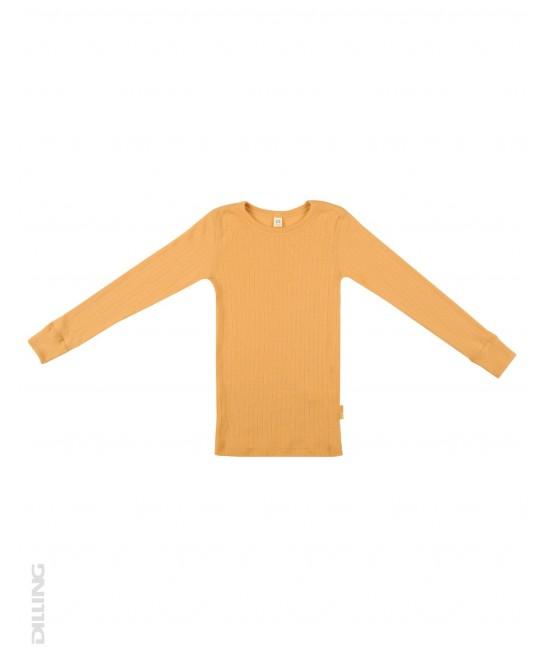 Bluză galbenă striată de corp din lână Merinos organică Dilling Underwear pentru copii