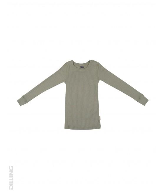 Bluză verde striată de corp din lână Merinos organică Dilling Underwear pentru copii