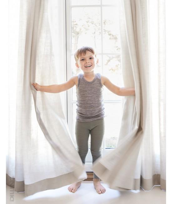 Colanți verzi striați din lână Merinos organică Dilling Underwear pentru copii