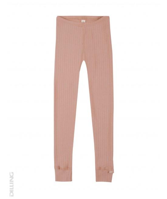 Colanți roz striați din lână Merinos organică Dilling Underwear pentru copii