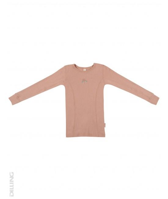 Bluză roz striată de corp din lână Merinos organică Dilling Underwear pentru copii