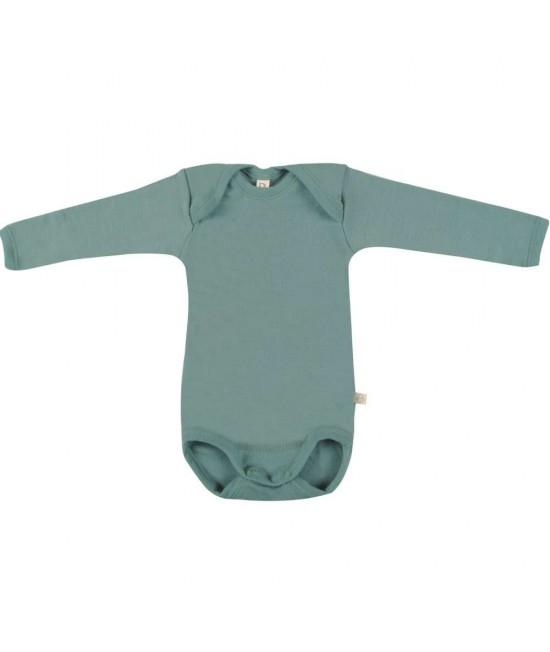 Body verde deschis cu mânecă lungă din lână Merinos organică Dilling Underwear pentru bebeluși