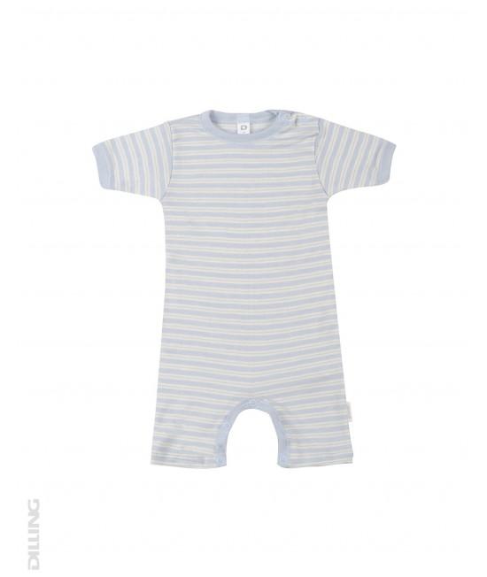 Salopetă scurtă de vară bleu din lână Merinos organică și mătase Dilling Underwear pentru bebeluși