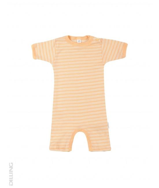 Salopetă scurtă de vară portocalie din lână Merinos organică și mătase Dilling Underwear pentru bebeluși