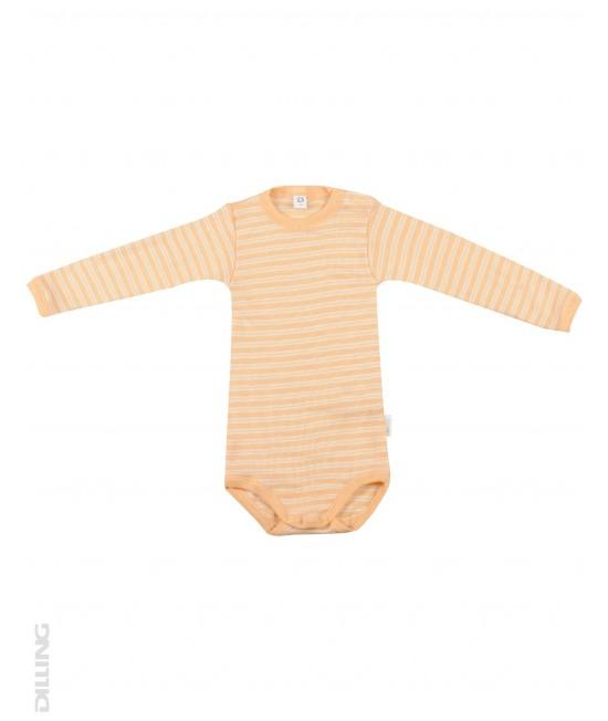 Body portocaliu cu mânecă lungă din lână Merinos organică și mătase Dilling Underwear pentru bebeluși