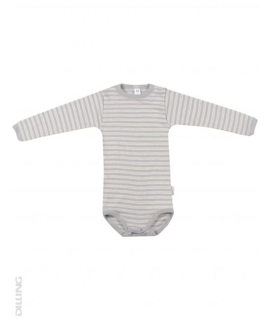 Body gri cu mânecă lungă din lână Merinos organică și mătase Dilling Underwear pentru bebeluși