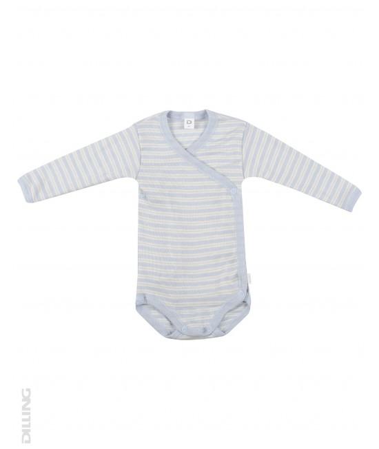 Body kimono cu mânecă lungă bleu din lână Merinos organică și mătase Dilling Underwear pentru bebeluși