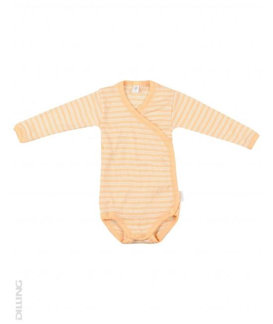 Body kimono cu mânecă lungă portocaliu din lână Merinos organică și mătase Dilling Underwear pentru bebeluși