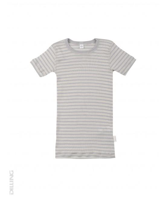 Tricou gri din lână Merinos organică și mătase Dilling Underwear pentru copii