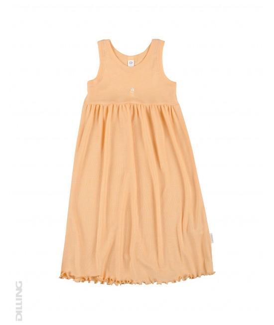 Rochie fără mâneci portocalie din lână Merinos organică și mătase Dilling Underwear pentru copii