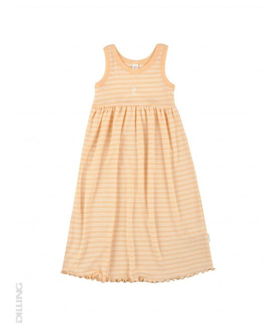 Rochie fără mâneci portocalie cu dungi din lână Merinos organică și mătase Dilling Underwear pentru copii
