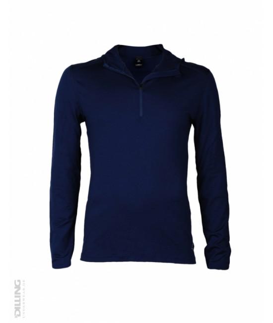 Bluză de corp funcțională din lână Merinos organică Dilling Underwear pentru bărbați - bleumarin cu glugă
