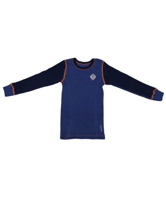 Bluză albastră de corp din lână Merinos organică Dilling Underwear pentru copii