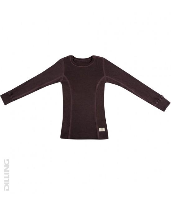 Bluză lila de corp din lână Merinos organică Dilling Underwear pentru copii