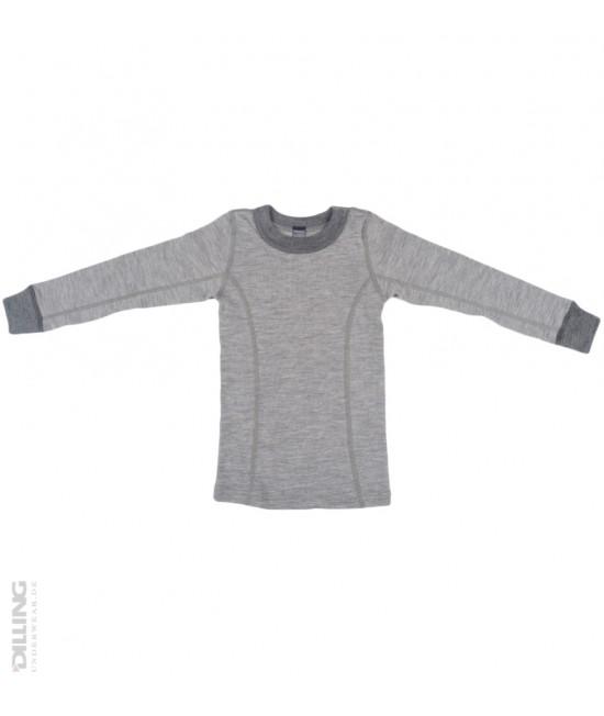Bluză gri de corp din lână Merinos organică Dilling Underwear pentru copii