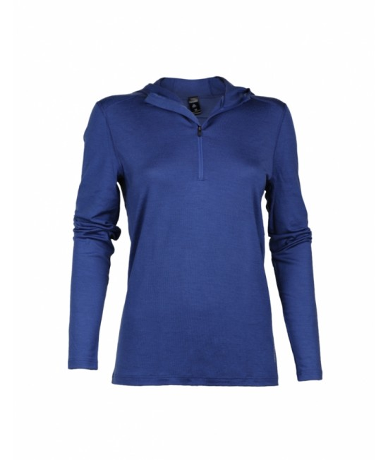 Bluză de corp funcțională din lână Merinos organică Dilling Underwear cu fermoar pentru femei - albastră cu glugă