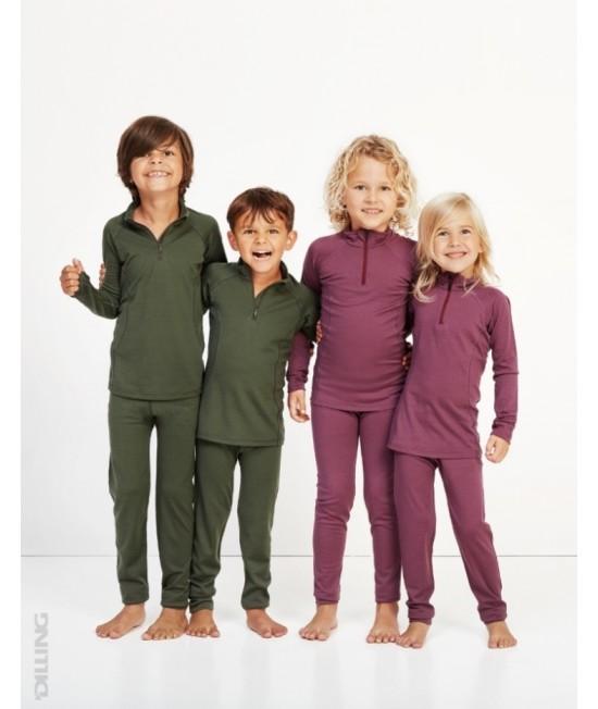 Bluză verde de corp din lână Merinos organică Dilling Underwear cu fermoar