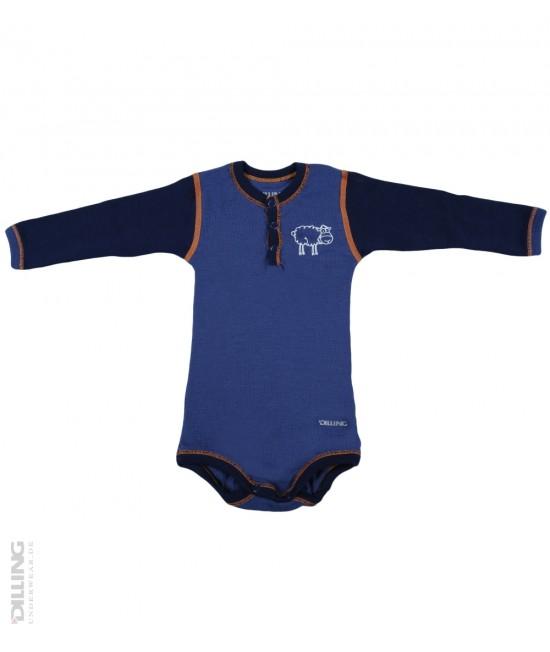 Body albastru cu mânecă lungă din lână Merinos organică Dilling Underwear