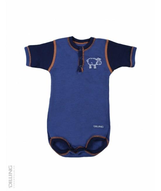 Body bleumarin cu mânecă scurtă din lână Merinos organică Dilling Underwear