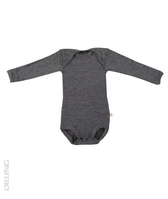 Body gri cu mânecă lungă din lână Merinos organică Dilling Underwear - model 2017