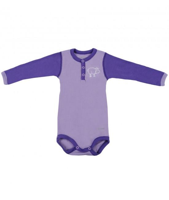 Body mov cu mânecă lungă din lână Merinos organică Dilling Underwear