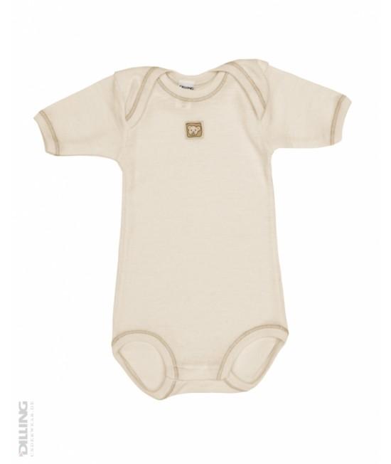 Body natur cu mânecă scurtă din lână Merinos organică Dilling Underwear