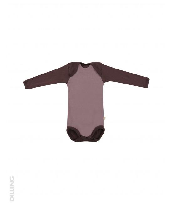 Body roz cu mânecă lungă din lână Merinos organică Dilling Underwear - model 2017