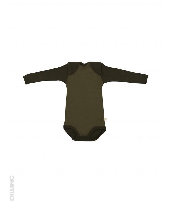 Body verde cu mânecă lungă din lână Merinos organică Dilling Underwear - model 2017