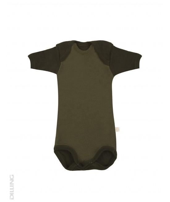 Body verde cu mânecă scurtă din lână Merinos organică Dilling Underwear - model 2017