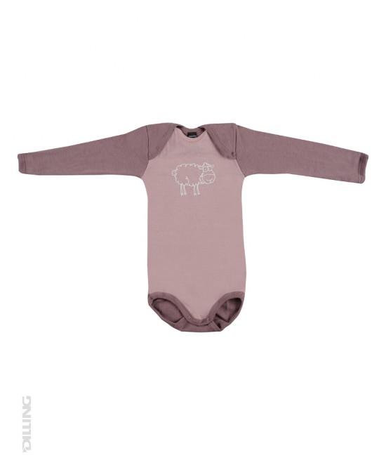 Body roz cu mânecă lungă din lână Merinos organică Dilling Underwear