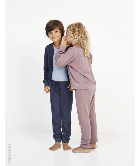 Jerseu bleumarin tricotat cu fermoar din lână Merinos organică Dilling Underwear pentru copii