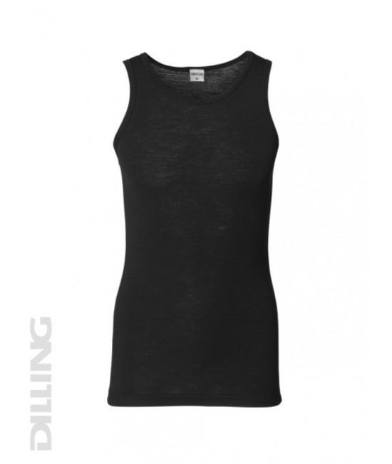 Maieu negru din lână Merinos organică Dilling Underwear pentru bărbați