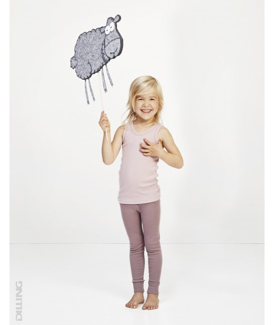 Maieu roz din lână Merinos organică Dilling Underwear pentru copii