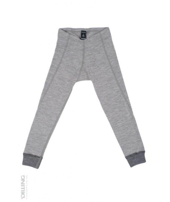 Pantaloni gri (leggings, colanți) din lână Merinos organică Dilling Underwear pentru copii