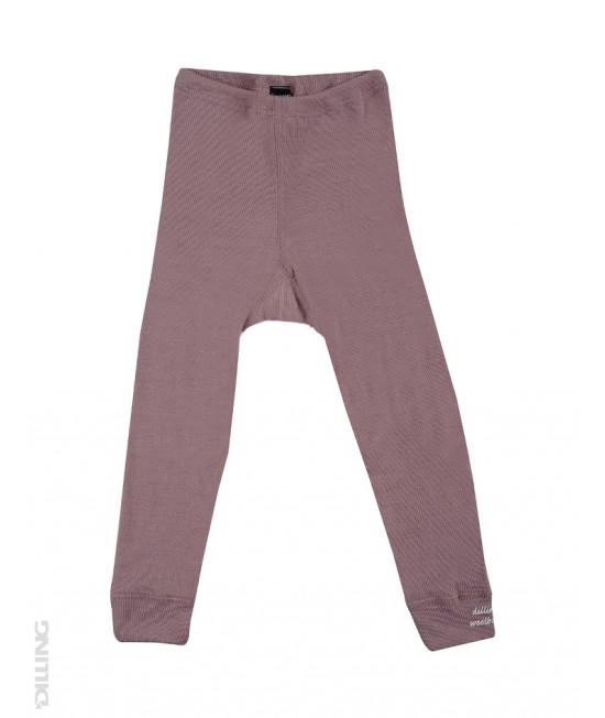 Pantaloni (leggings, colanți) roz din lână Merinos organică Dilling Underwear pentru bebeluși