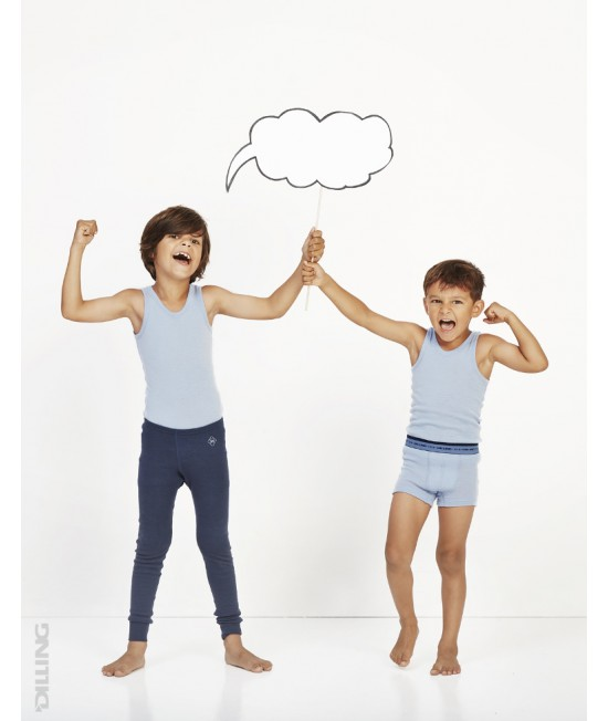 Pantaloni (leggings, colanți) bleumarin din lână Merinos organică Dilling Underwear pentru copii