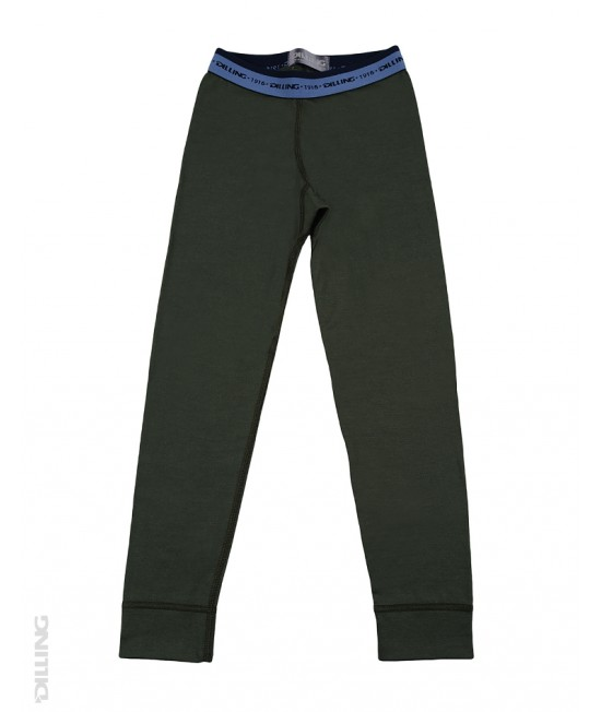 Pantaloni (leggings, colanți) verzi din lână Merinos organică Dilling Underwear pentru copii